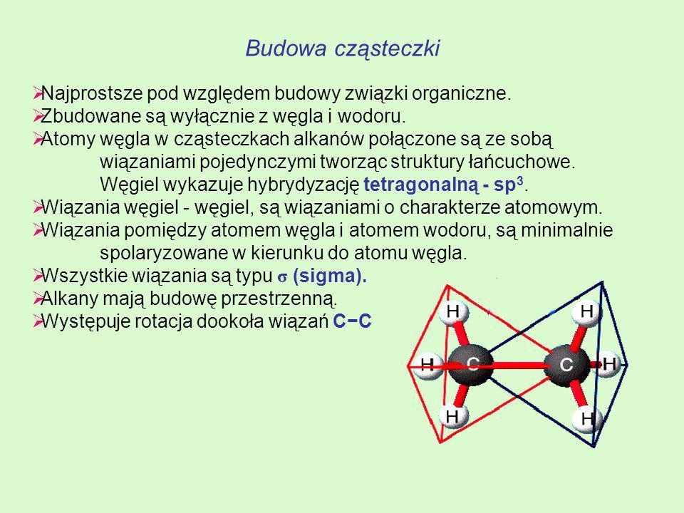 Budowa cząsteczki Najprostsze pod względem budowy związki organiczne. Zbudowane są wyłącznie z węgla i wodoru. Atomy węgla w cząsteczkach alkanów połą