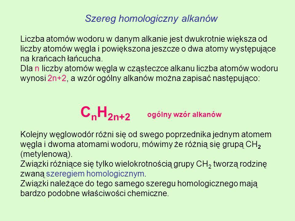 NazwaWzór sumarycznyWzór półstrukturalny MetanCH 4 EtanC2H6C2H6 CH 3 PropanC3H8C3H8 CH 3 CH 2 CH 3 ButanC 4 H 10 CH 3 CH 2 CH 2 CH 3 PentanC 5 H 12 CH 3 (CH 2 ) 3 CH 3 HeksanC 6 H 14 CH 3 (CH 2 ) 4 CH 3 HeptanC 7 H 16 CH 3 (CH 2 ) 5 CH 3 Oktan C 8 H 18 CH 3 (CH 2 ) 6 CH 3 NonanC 9 H 20 CH 3 (CH 2 ) 7 CH 3 DekanC 10 H 22 CH 3 (CH 2 ) 8 CH 3