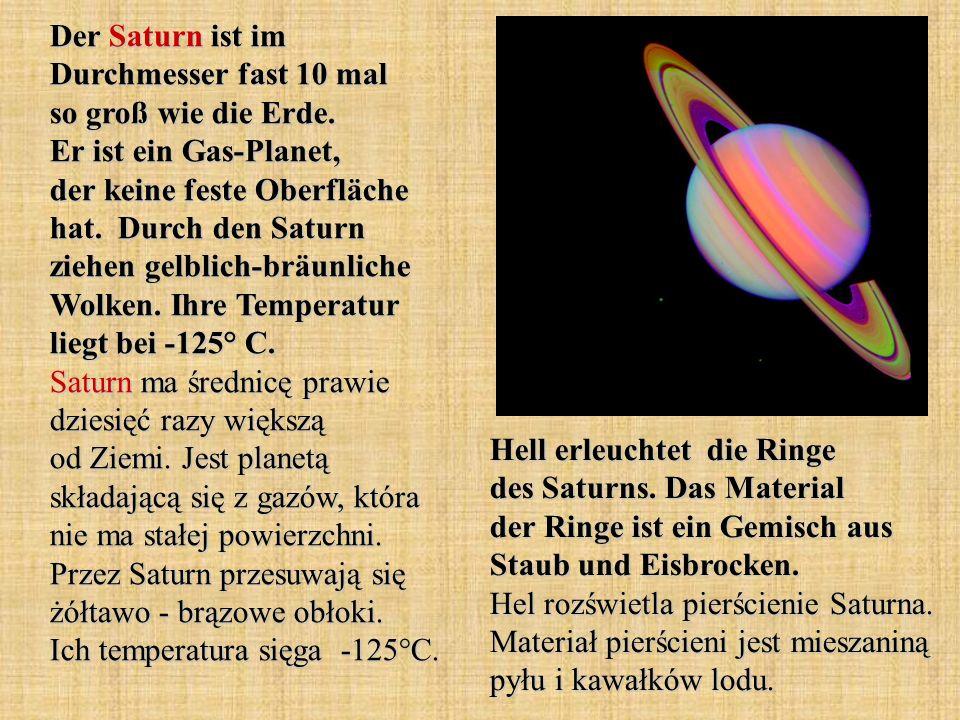 Der Saturn ist im Durchmesser fast 10 mal so groß wie die Erde. Er ist ein Gas-Planet, der keine feste Oberfläche hat. Durch den Saturn ziehen gelblic