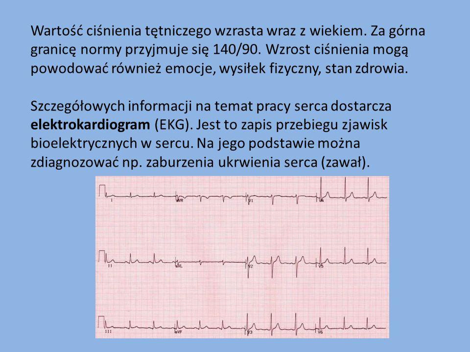 Wartość ciśnienia tętniczego wzrasta wraz z wiekiem. Za górna granicę normy przyjmuje się 140/90. Wzrost ciśnienia mogą powodować również emocje, wysi