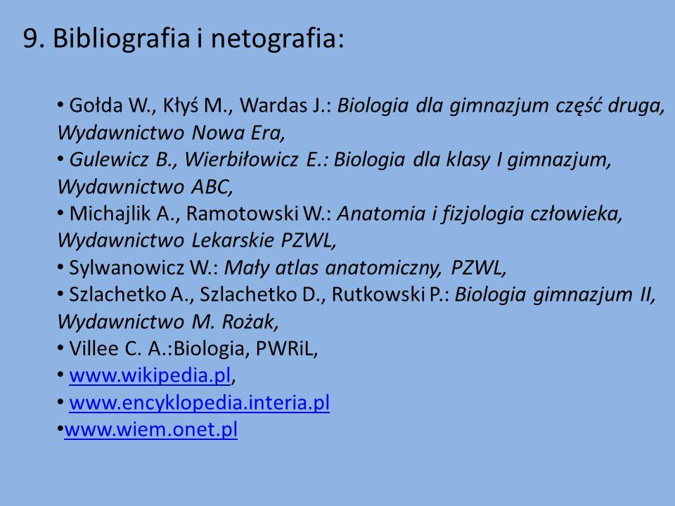 9. Bibliografia i netografia: Gołda W., Kłyś M., Wardas J.: Biologia dla gimnazjum część druga, Wydawnictwo Nowa Era, Gulewicz B., Wierbiłowicz E.: Bi
