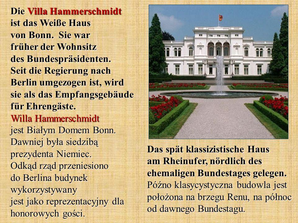 Das spät klassizistische Haus am Rheinufer, nördlich des ehemaligen Bundestages gelegen. Późno klasycystyczna budowla jest położona na brzegu Renu, na
