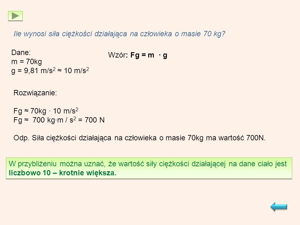 Ile wynosi siła ciężkości działająca na człowieka o masie 70 kg.