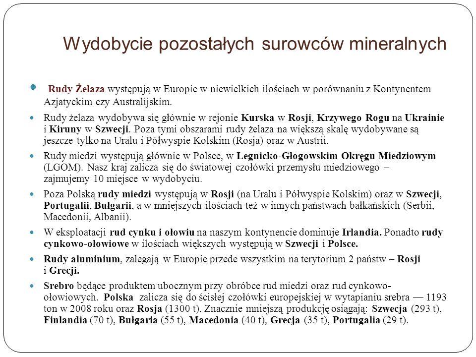 Wydobycie pozostałych surowców mineralnych Rudy Żelaza występują w Europie w niewielkich ilościach w porównaniu z Kontynentem Azjatyckim czy Australij