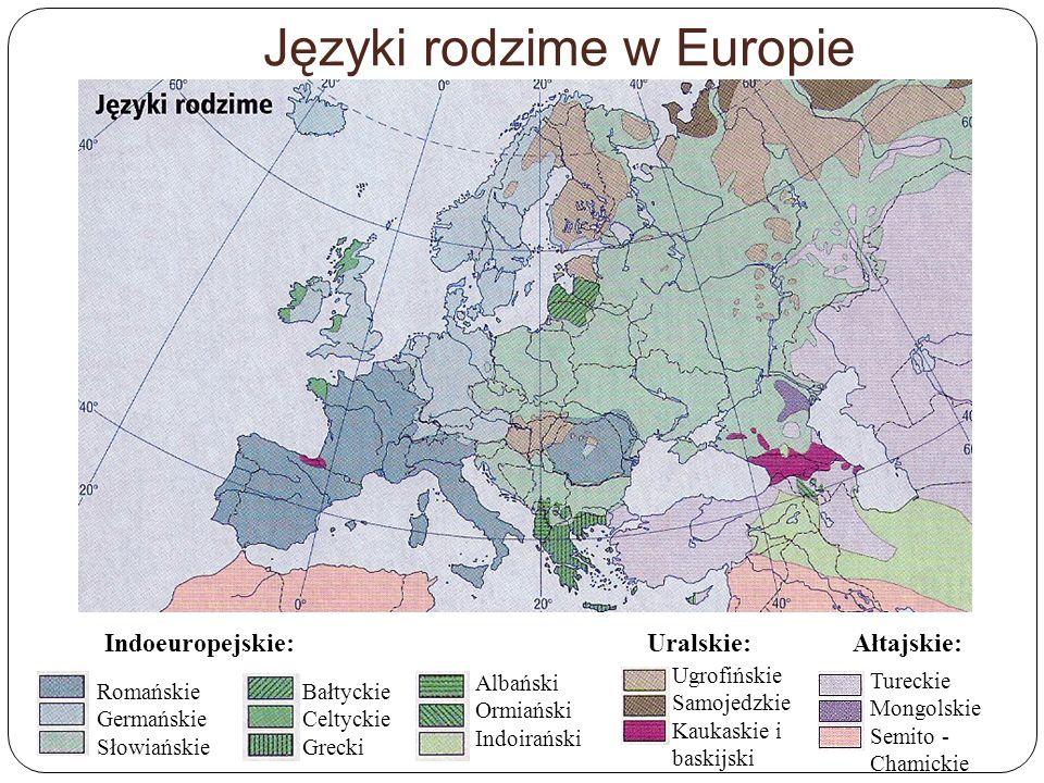 Języki rodzime w Europie Indoeuropejskie:Uralskie:Ałtajskie: Romańskie Germańskie Słowiańskie Bałtyckie Celtyckie Grecki Albański Ormiański Indoirańsk