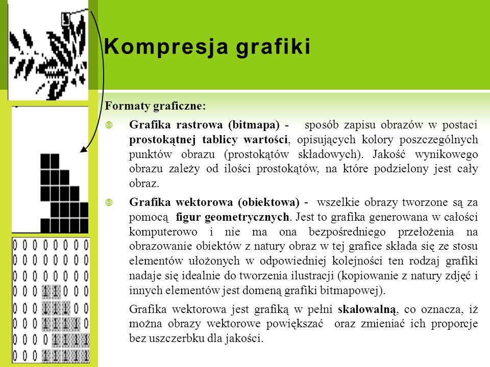 Kompresja grafiki Formaty graficzne: Grafika rastrowa (bitmapa) - sposób zapisu obrazów w postaci prostokątnej tablicy wartości, opisujących kolory po