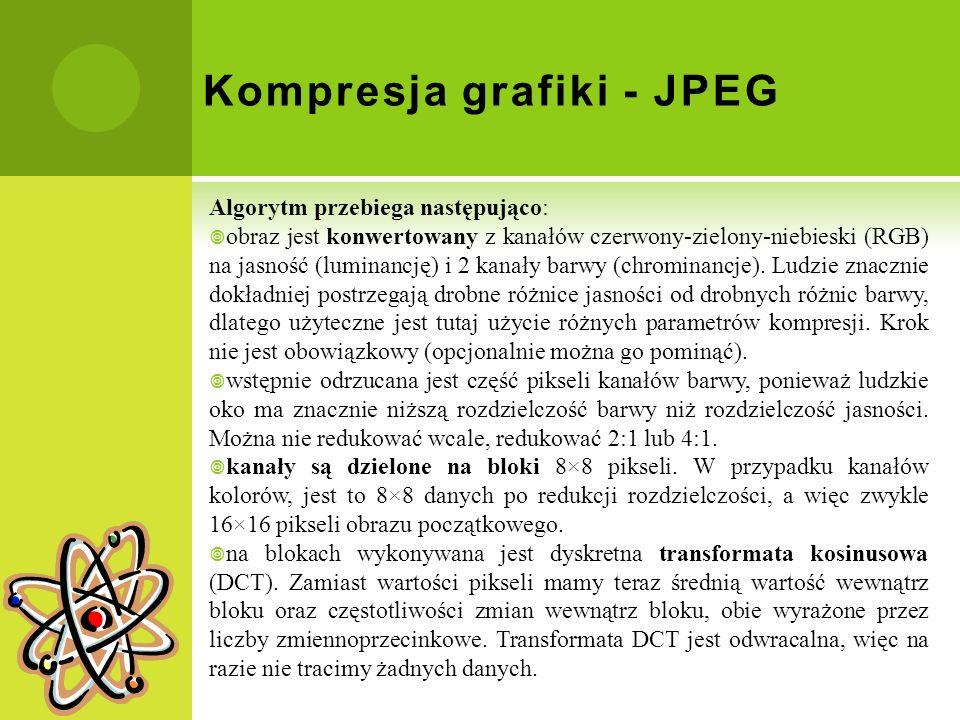 Kompresja grafiki - JPEG Algorytm przebiega następująco: obraz jest konwertowany z kanałów czerwony-zielony-niebieski (RGB) na jasność (luminancję) i