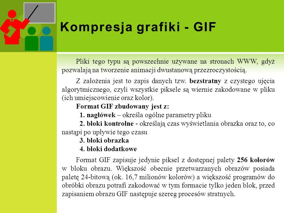 Kompresja grafiki - GIF Pliki tego typu są powszechnie używane na stronach WWW, gdyż pozwalają na tworzenie animacji dwustanową przezroczystością. Z z