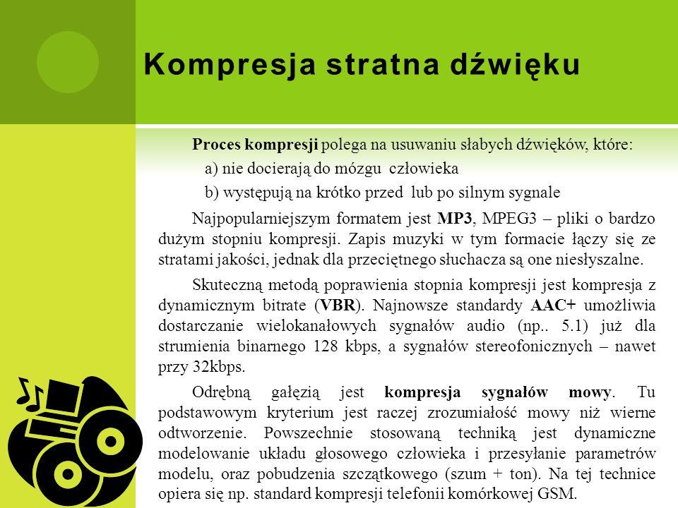 Kompresja stratna dźwięku Proces kompresji polega na usuwaniu słabych dźwięków, które: a) nie docierają do mózgu człowieka b) występują na krótko prze