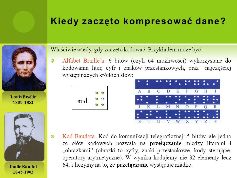 Kiedy zaczęto kompresować dane? Właściwie wtedy, gdy zaczęto kodować. Przykładem może być: Alfabet Braillea. 6 bitów (czyli 64 możliwości) wykorzystan