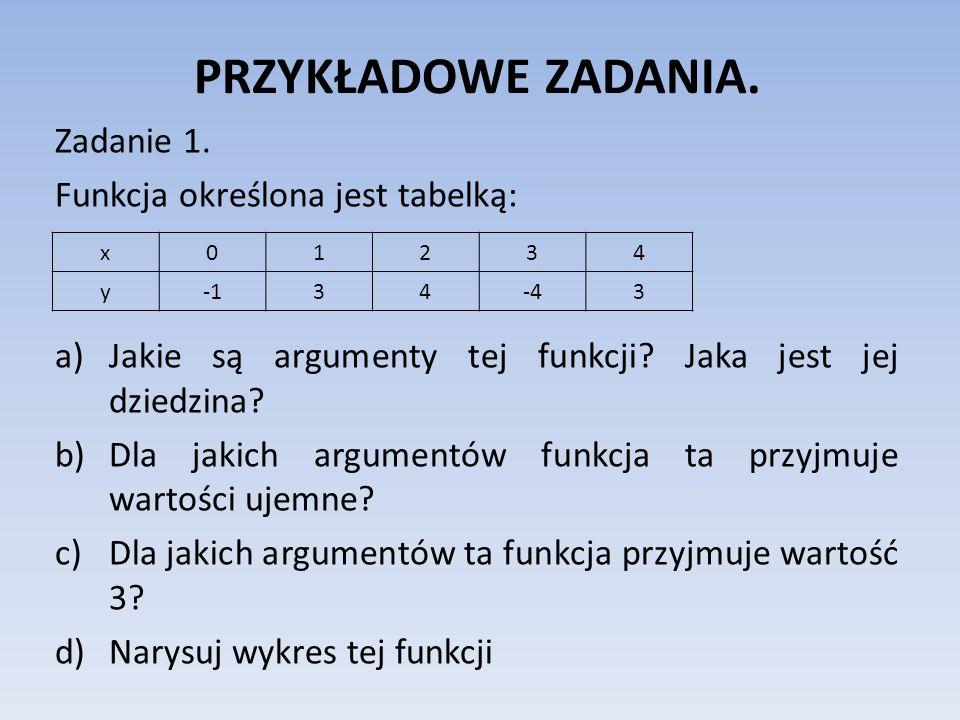 PRZYKŁADOWE ZADANIA. Zadanie 1. Funkcja określona jest tabelką: a)Jakie są argumenty tej funkcji? Jaka jest jej dziedzina? b)Dla jakich argumentów fun