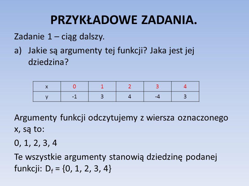 PRZYKŁADOWE ZADANIA. Zadanie 1 – ciąg dalszy. a)Jakie są argumenty tej funkcji? Jaka jest jej dziedzina? Argumenty funkcji odczytujemy z wiersza oznac