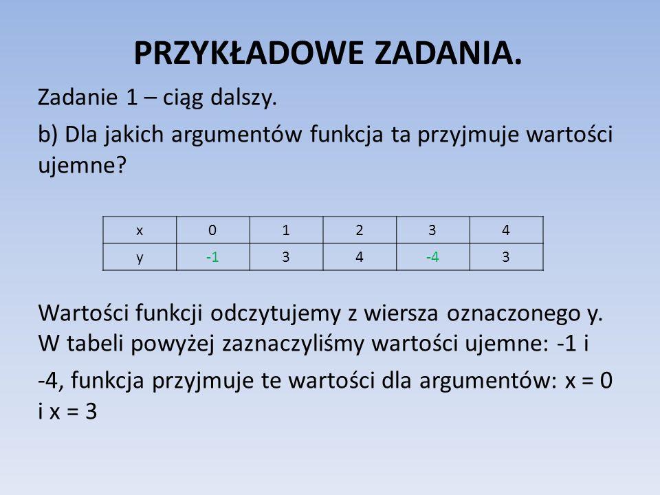 PRZYKŁADOWE ZADANIA. Zadanie 1 – ciąg dalszy. b) Dla jakich argumentów funkcja ta przyjmuje wartości ujemne? Wartości funkcji odczytujemy z wiersza oz