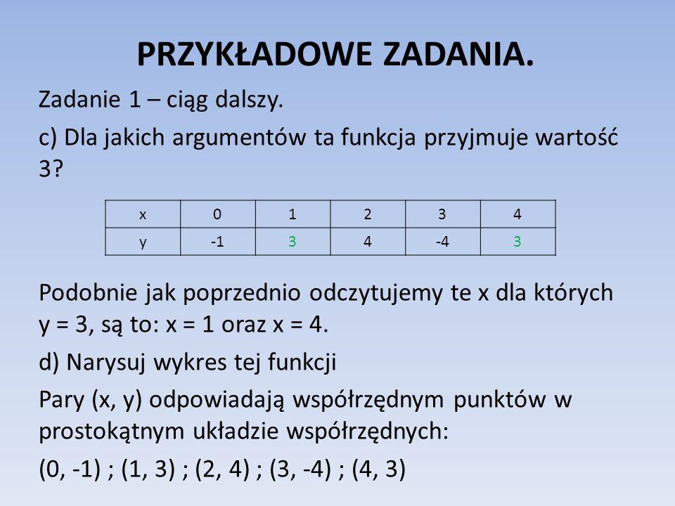 PRZYKŁADOWE ZADANIA. Zadanie 1 – ciąg dalszy. c) Dla jakich argumentów ta funkcja przyjmuje wartość 3? Podobnie jak poprzednio odczytujemy te x dla kt