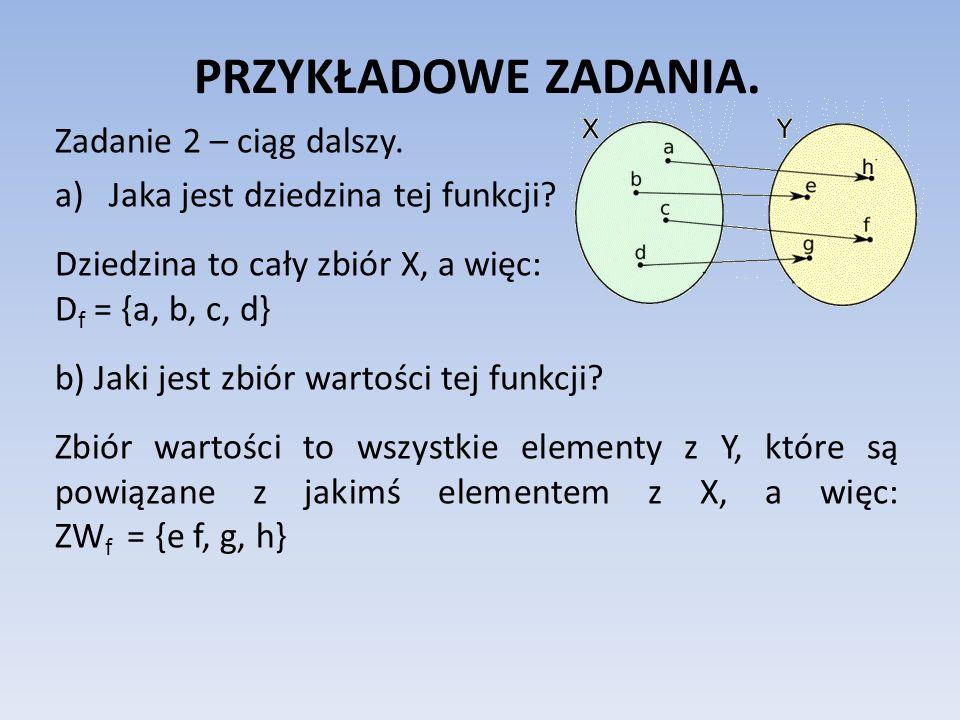 PRZYKŁADOWE ZADANIA. Zadanie 2 – ciąg dalszy. a)Jaka jest dziedzina tej funkcji? Dziedzina to cały zbiór X, a więc: D f = {a, b, c, d} b) Jaki jest zb