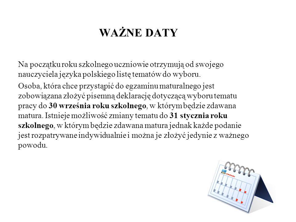 WAŻNE DATY Na początku roku szkolnego uczniowie otrzymują od swojego nauczyciela języka polskiego listę tematów do wyboru. Osoba, która chce przystąpi