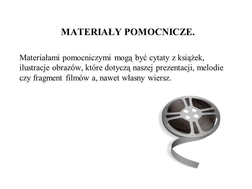 MATERIAŁY POMOCNICZE. Materiałami pomocniczymi mogą być cytaty z książek, ilustracje obrazów, które dotyczą naszej prezentacji, melodie czy fragment f