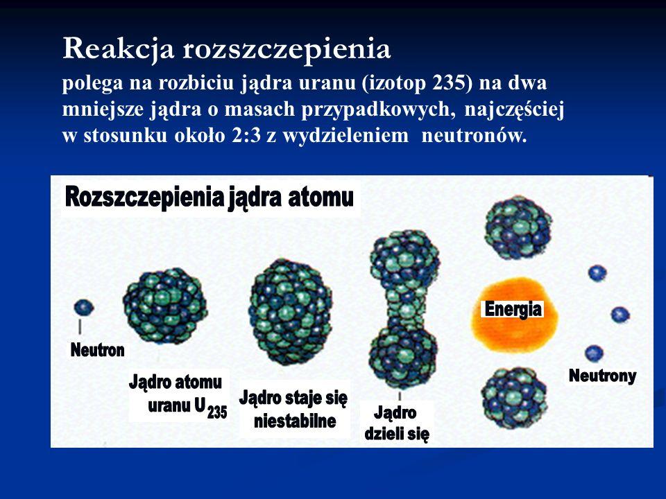 Reakcja rozszczepienia polega na rozbiciu jądra uranu (izotop 235) na dwa mniejsze jądra o masach przypadkowych, najczęściej w stosunku około 2:3 z wy