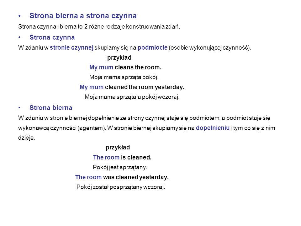 Strona bierna a strona czynna Strona czynna i bierna to 2 różne rodzaje konstruowania zdań. Strona czynna W zdaniu w stronie czynnej skupiamy się na p