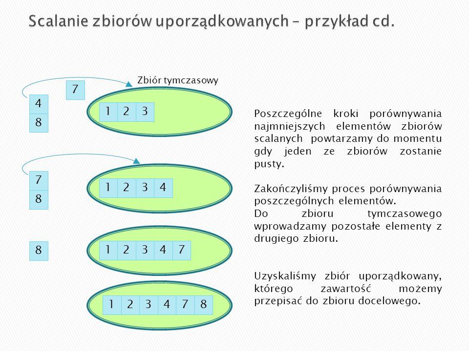 Algorytm sortowania przez zliczanie zbudowany jest z kolejno następujących po sobie pętli iteracyjnych.
