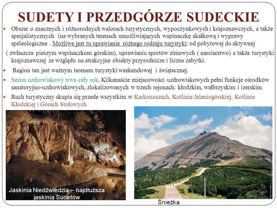 SUDETY I PRZEDGÓRZE SUDECKIE Obszar o znacznych i różnorodnych walorach turystycznych, wypoczynkowych i krajoznawczych, a także specjalistycznych (na