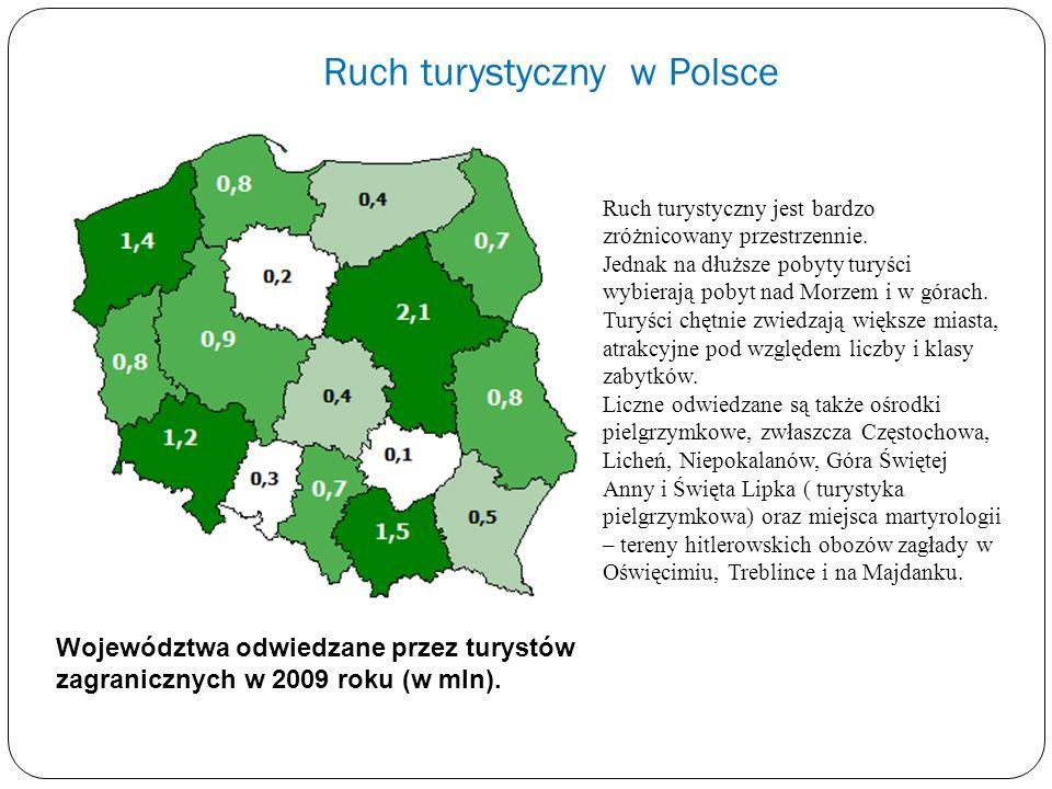 Ruch turystyczny w Polsce Województwa odwiedzane przez turystów zagranicznych w 2009 roku (w mln). Ruch turystyczny jest bardzo zróżnicowany przestrze
