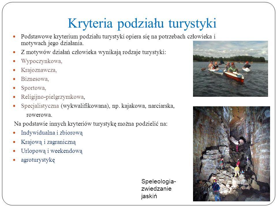 Kryteria podziału turystyki Podstawowe kryterium podziału turystyki opiera się na potrzebach człowieka i motywach jego działania. Z motywów działań cz