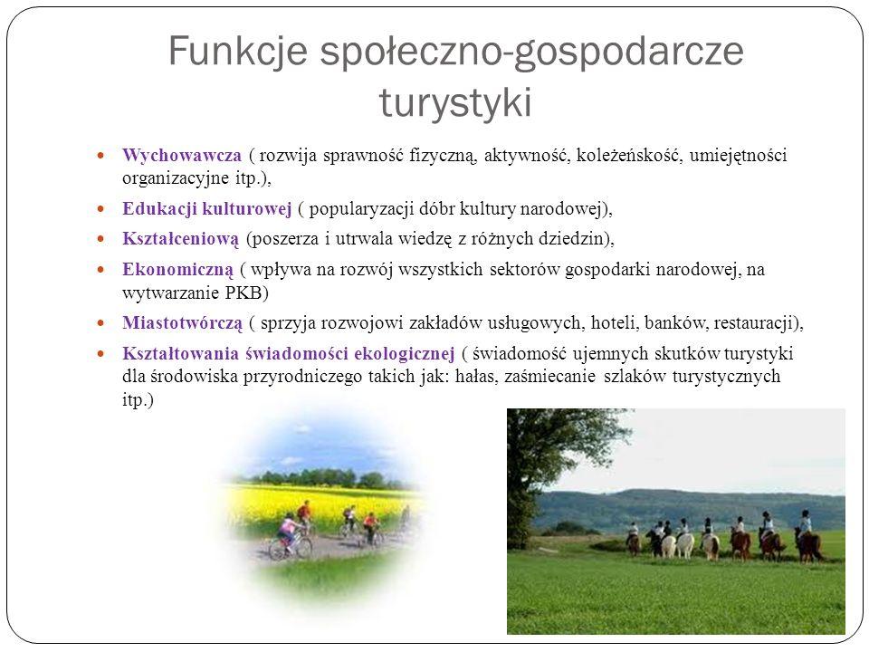 Funkcje społeczno-gospodarcze turystyki Wychowawcza ( rozwija sprawność fizyczną, aktywność, koleżeńskość, umiejętności organizacyjne itp.), Edukacji