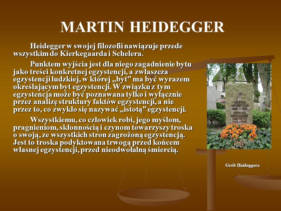 MARTIN HEIDEGGER Heidegger w swojej filozofii nawiązuje przede wszystkim do Kierkegaarda i Schelera.