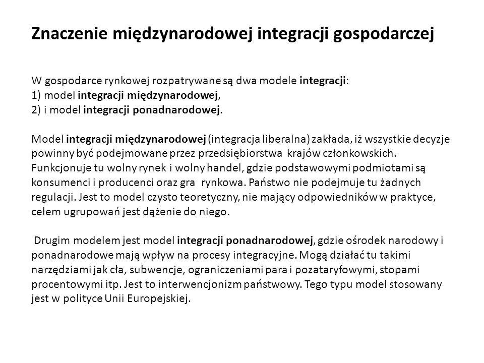 W gospodarce rynkowej rozpatrywane są dwa modele integracji: 1) model integracji międzynarodowej, 2) i model integracji ponadnarodowej. Model integrac