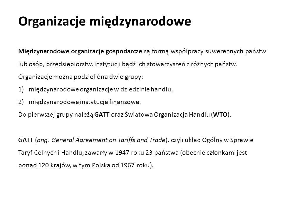 Organizacje międzynarodowe Międzynarodowe organizacje gospodarcze są formą współpracy suwerennych państw lub osób, przedsiębiorstw, instytucji bądź ic