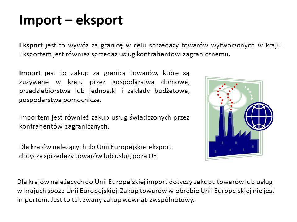 Import – eksport Import jest to zakup za granicą towarów, które są zużywane w kraju przez gospodarstwa domowe, przedsiębiorstwa lub jednostki i zakład