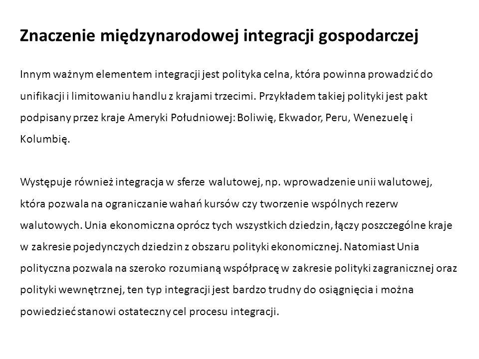Innym ważnym elementem integracji jest polityka celna, która powinna prowadzić do unifikacji i limitowaniu handlu z krajami trzecimi. Przykładem takie