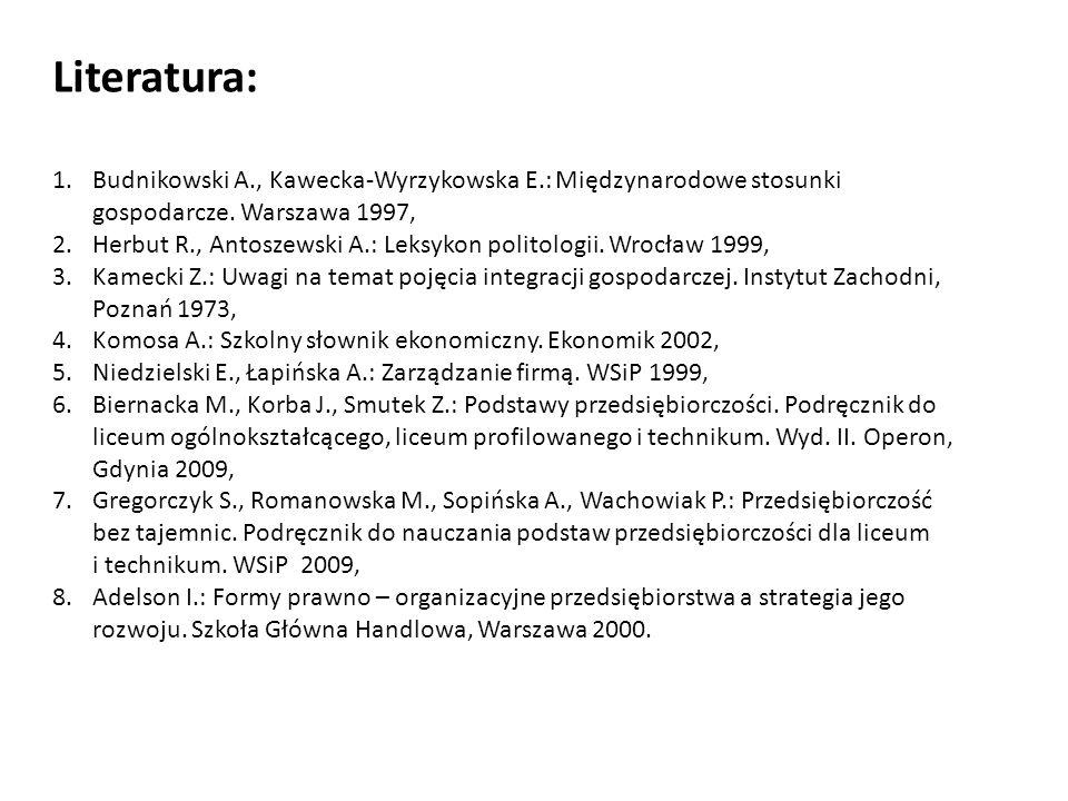 1.Budnikowski A., Kawecka-Wyrzykowska E.: Międzynarodowe stosunki gospodarcze. Warszawa 1997, 2.Herbut R., Antoszewski A.: Leksykon politologii. Wrocł