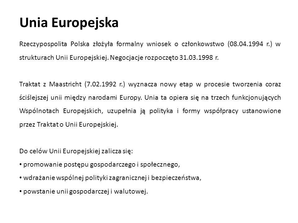 Unia Europejska Rzeczypospolita Polska złożyła formalny wniosek o członkowstwo (08.04.1994 r.) w strukturach Unii Europejskiej. Negocjacje rozpoczęto
