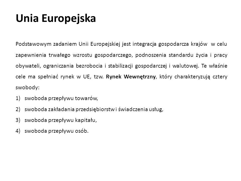 Unia Europejska Podstawowym zadaniem Unii Europejskiej jest integracja gospodarcza krajów w celu zapewnienia trwałego wzrostu gospodarczego, podnoszen