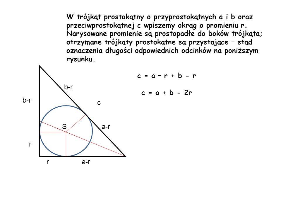 W trójkąt prostokątny o przyprostokątnych a i b oraz przeciwprostokątnej c wpiszemy okrąg o promieniu r. Narysowane promienie są prostopadłe do boków