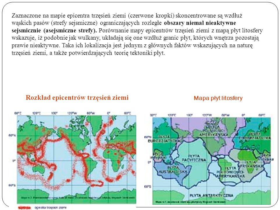 Zaznaczone na mapie epicentra trzęsień ziemi (czerwone kropki) skoncentrowane są wzdłuż wąskich pasów (strefy sejsmiczne) ograniczających rozległe obs