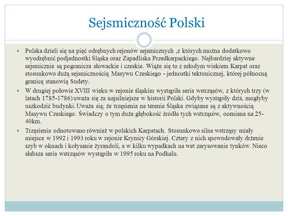 Sejsmiczność Polski Polska dzieli się na pięć odrębnych rejonów sejsmicznych,z których można dodatkowo wyodrębnić podjednostki Śląska oraz Zapadliska