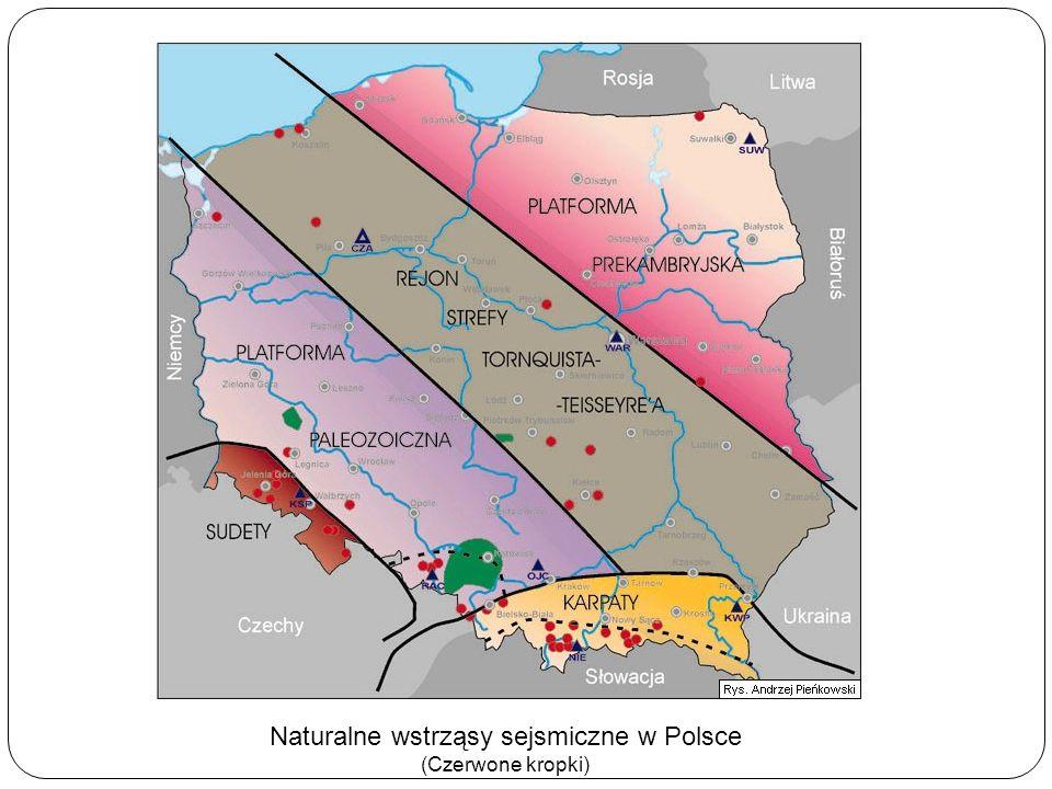 Naturalne wstrząsy sejsmiczne w Polsce (Czerwone kropki)