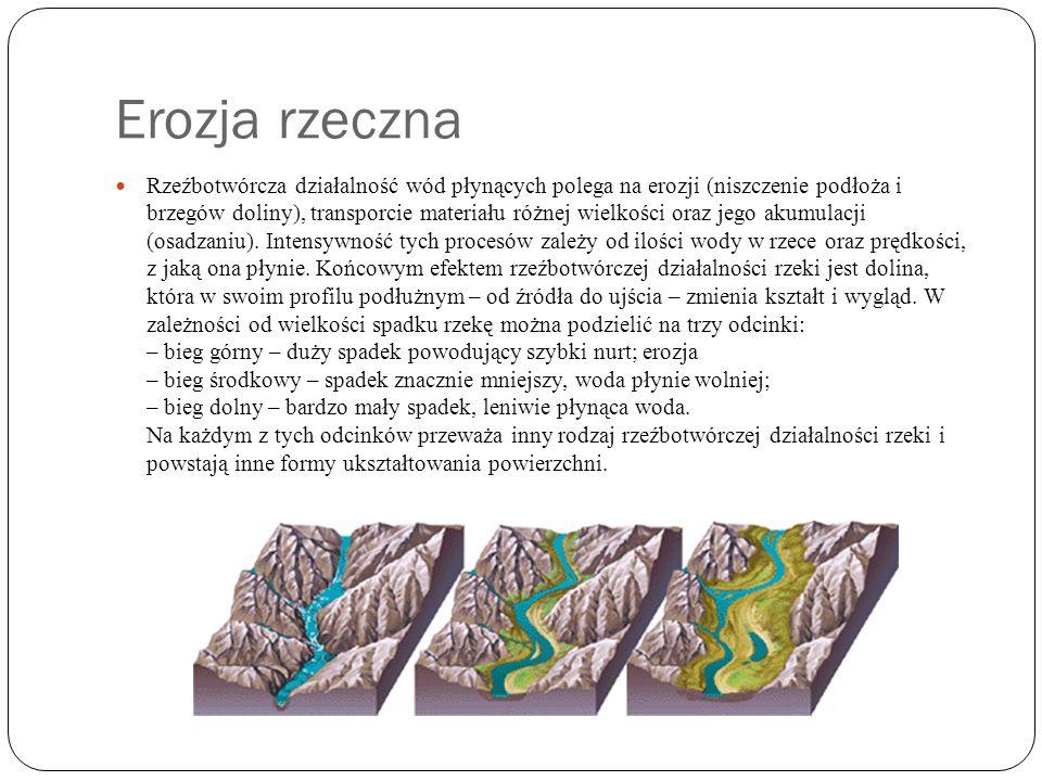 Erozja rzeczna Rzeźbotwórcza działalność wód płynących polega na erozji (niszczenie podłoża i brzegów doliny), transporcie materiału różnej wielkości