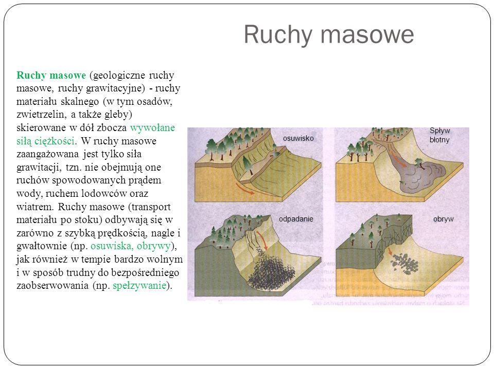 Ruchy masowe Ruchy masowe (geologiczne ruchy masowe, ruchy grawitacyjne) - ruchy materiału skalnego (w tym osadów, zwietrzelin, a także gleby) skierow