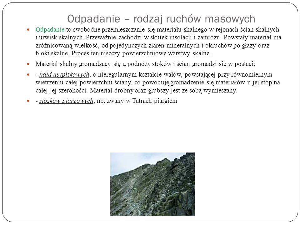 Odpadanie – rodzaj ruchów masowych Odpadanie to swobodne przemieszczanie się materiału skalnego w rejonach ścian skalnych i urwisk skalnych. Przeważni