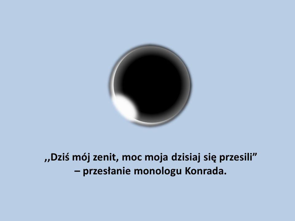 ,,Dziś mój zenit, moc moja dzisiaj się przesili – przesłanie monologu Konrada.
