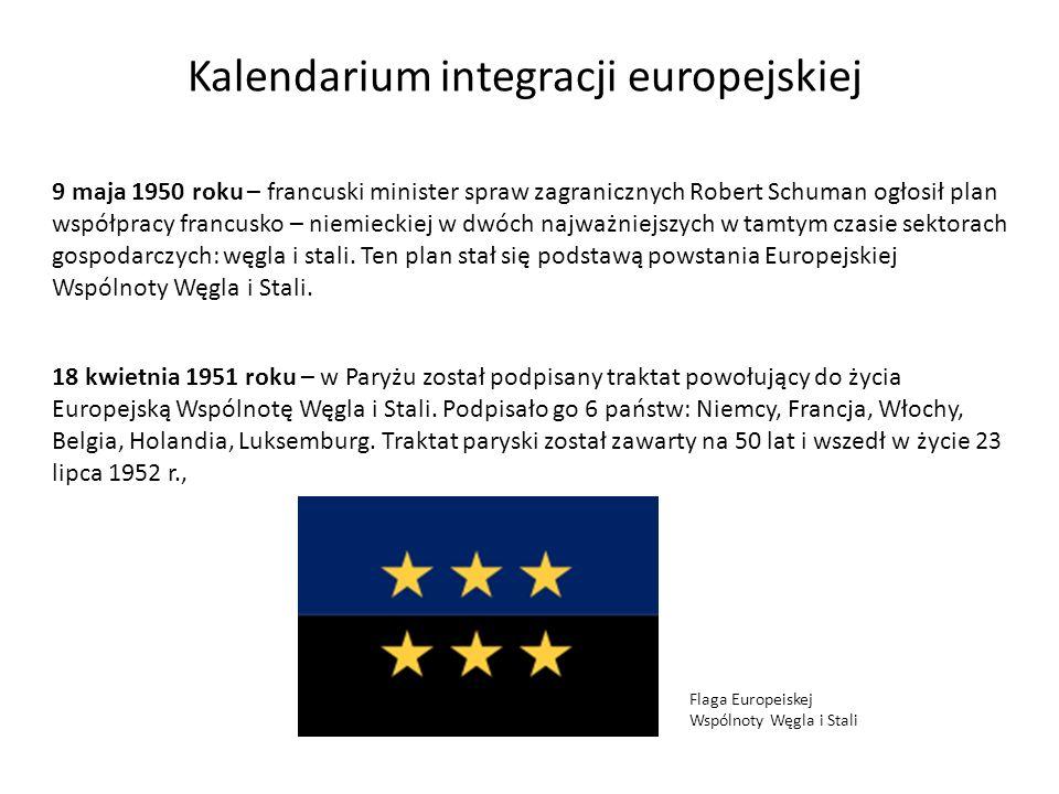 Kalendarium integracji europejskiej 9 maja 1950 roku – francuski minister spraw zagranicznych Robert Schuman ogłosił plan współpracy francusko – niemi