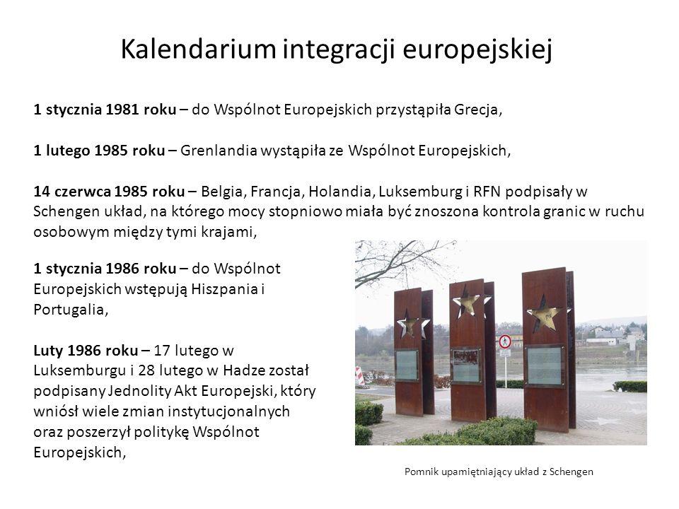 Kalendarium integracji europejskiej 1 stycznia 1981 roku – do Wspólnot Europejskich przystąpiła Grecja, 1 lutego 1985 roku – Grenlandia wystąpiła ze W