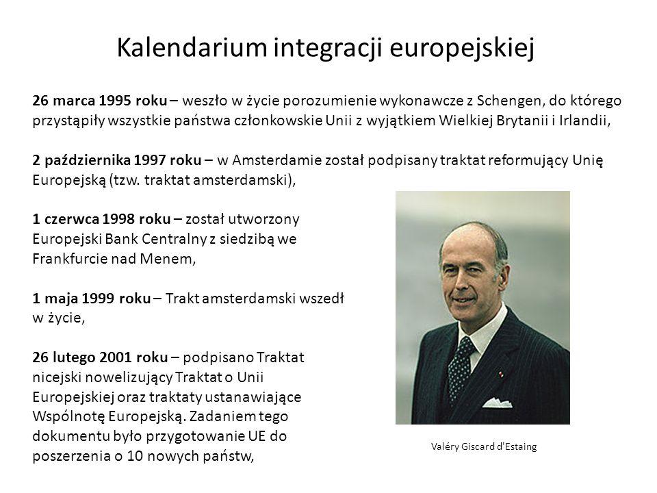 Kalendarium integracji europejskiej 26 marca 1995 roku – weszło w życie porozumienie wykonawcze z Schengen, do którego przystąpiły wszystkie państwa c