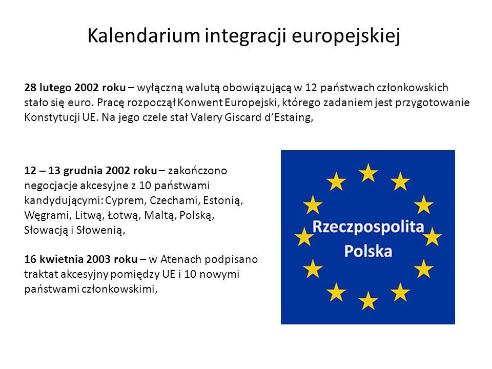 Kalendarium integracji europejskiej 28 lutego 2002 roku – wyłączną walutą obowiązującą w 12 państwach członkowskich stało się euro. Pracę rozpoczął Ko