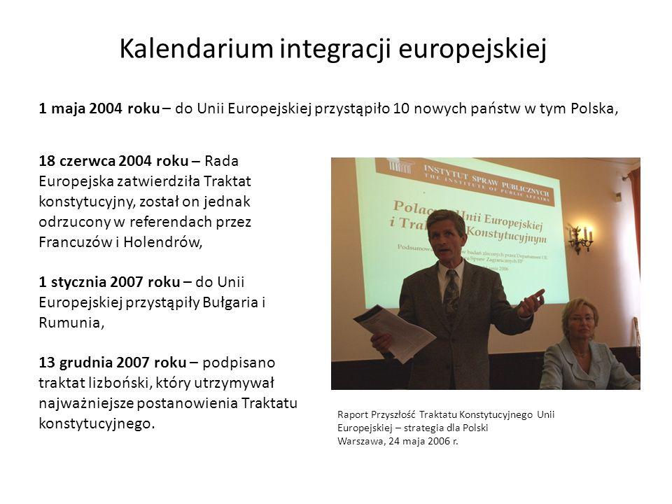 Kalendarium integracji europejskiej 1 maja 2004 roku – do Unii Europejskiej przystąpiło 10 nowych państw w tym Polska, 18 czerwca 2004 roku – Rada Eur