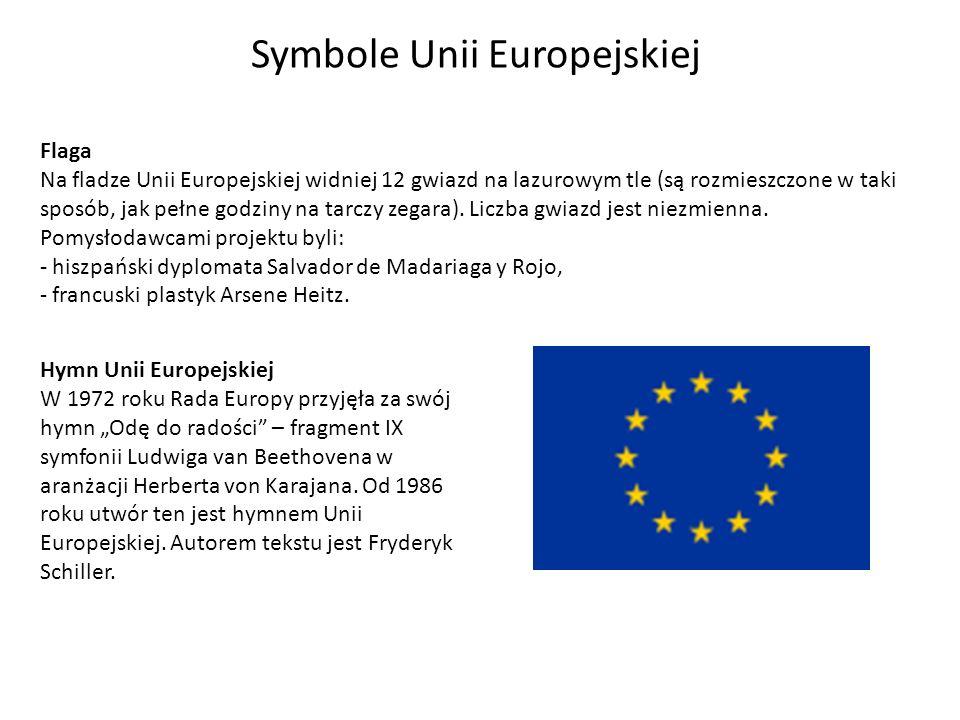 Symbole Unii Europejskiej Flaga Na fladze Unii Europejskiej widniej 12 gwiazd na lazurowym tle (są rozmieszczone w taki sposób, jak pełne godziny na t